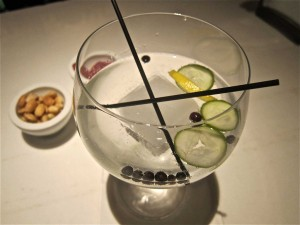 Hendricks with Served with cucumber and juniper berries